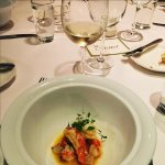 Lobster with asparagus and smoked bacon, paired with Linden Vineyards Chardonnay (Virginia)