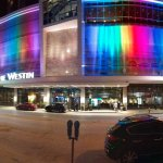 The hotel changed the exterior lighting to welcome my group to the conference!