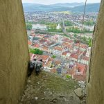 Pigeons Viewing Town from Tower of Trencin Castle