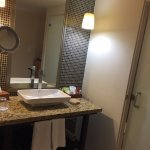 Vanity area, toilet & shower are separate.