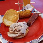 Turkey sandwich, one rib, deep fried corn on the cob