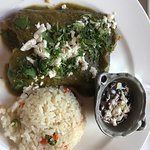 Poblano enchilada with rice and black beans