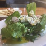 My beautiful Peas of Spring Salad with their homemade grilled Yogurt Bread.