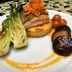 Orange Salmon with Manchego Polenta