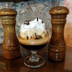 Cafe Liegeois ~ coffee rum walnut ice cream & espresso. Shot of chocolate or coffee liqueur opti