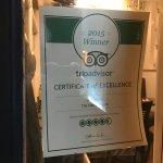 TripAdvisor certificate in window