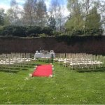 Intimate wedding set in the secluded walled garden