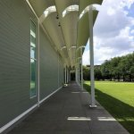 An airy walkway around the building, designed by Renzo Piano.
