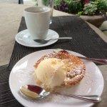 Rhubarb Cobbler and vanilla ice cream