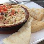 Hummus with warmed pita bread