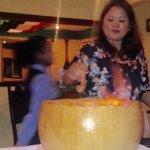 Spaghetti is prepared in a cheese wheel