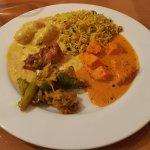 malai kofta, rice, chicken tikka masala, tindora sabji
