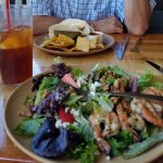 Maui Onion, Walnut & Feta Salad with grilled shrimp