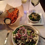house salad, sweet potato fries, brussels sprouts