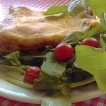 Vegetarian Lasagne made to a tradtional Italian recipe. Has artichokes, mushrooms, spinach and m