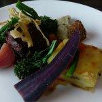 16 hour shortrib beef, oxtail croquette, brisket terrine, mushroom ketchup, Drews organic veg, b