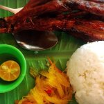 Grilled chicken leg with rice - 100PHP  It's value for money.  It's juicy.  I personally don't l