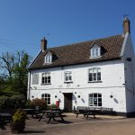 The Swan with the beer garden on a lovely spring morning