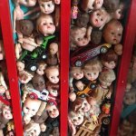 Vintage doll heads in a case
