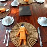 Place settings for breakfast