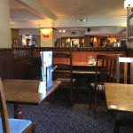 Very clean pub and the food was excellent value. The music was not too loud. We had two mains fo