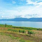 Lake toba near the white sand beach