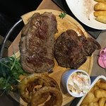 Demolishing the Meat Celebration Platter (for 2) Sliders, 10oz Sirlion, 8oz Rump, 8oz Filet!