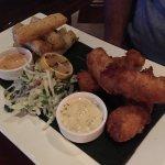 Kona Longboard Fish & Chips Fresh Catch, Island Tartar, Jerk Yucca Fries, $22