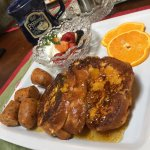 Orange creamsicle french toast with orange zest infused maple syrup. Yummm