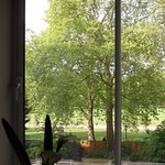 View from dining room table overlooking garden and Green Park.