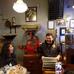 One of my favorite candid moments: Esin laughing with the owner at Fazıl Bey'in Türk Kahvesi