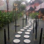 spa walkway during a rainstorm
