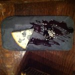 Cheese course: blue cheese and sweet prune in syrup