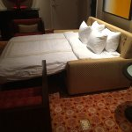 This hotel seriously thought that a fold out sofa bed was comparable to what was booked