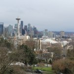 Kerry Park, a scenic location in Seattle overlooking the Space Needle and Mt. Rainier on a clear