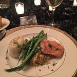 Saturday Dinner - seafood stuffed fish, glazed chickn breast, chef special rice & string beans.