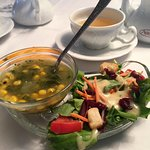 2nd Course of Tea Party - Kale & corn soup (special request) & salad.