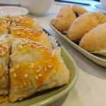 Pastry with pork (蜜汁叉燒酥) and deep fried minced pork dumplings (咸水角)