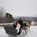 Winter elopement photo- sleighride