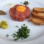 Hand cut steak Tartare at Augustus