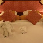 The towel-folded cute elephants at turn down service