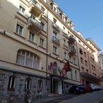 Hotel facade, uphill location