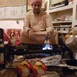 Making the welcome Arabic coffee