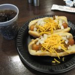 Chili cheese hot dogs... YUM!