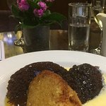 Treacle sponge , chocolate sponge with chocolate sauce and sticky toffee pudding ...with custard