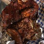 Box #1, the meat: ribs, chicken, brisket