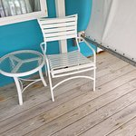 Second floor balcony furniture.