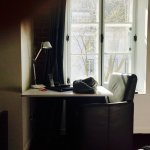 A desk by the window.