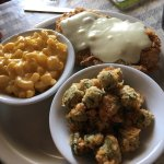 Homemade pies & breads, fried green tomatoes, fried catfish, & chicken fried steak ...yum yum...