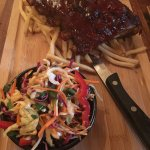 Korean Ribs with fries and slaw